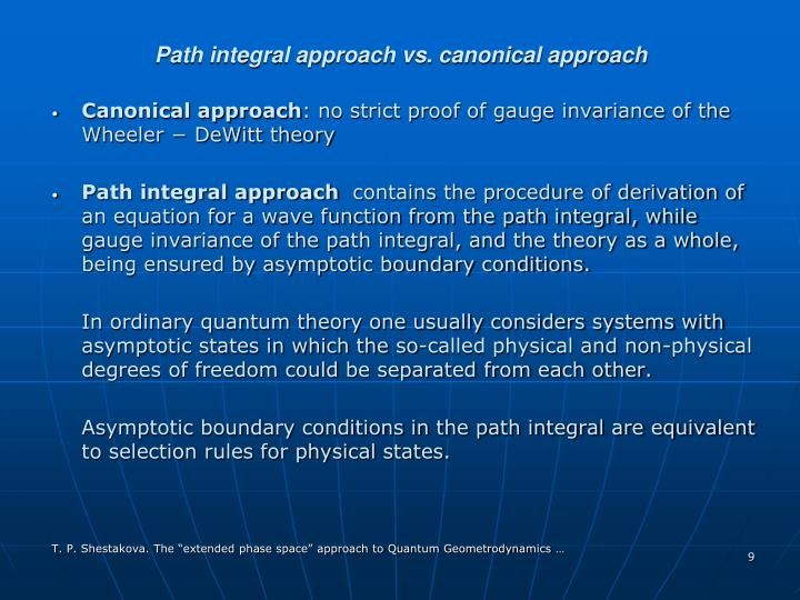 Path integral approach vs. canonical approach
