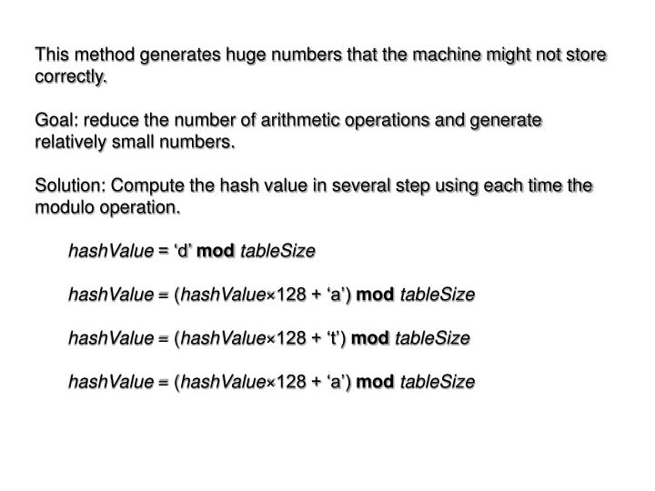 This method generates huge numbers that the machine might not store correctly.