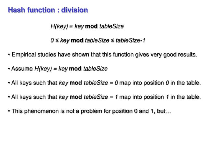 Hash function : division