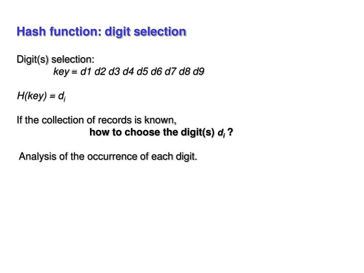 Hash function: digit selection