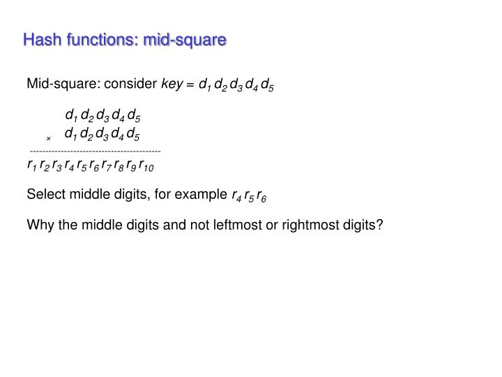 Hash functions: mid-square