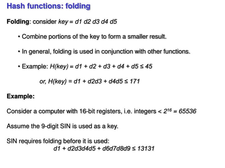 Hash functions: folding