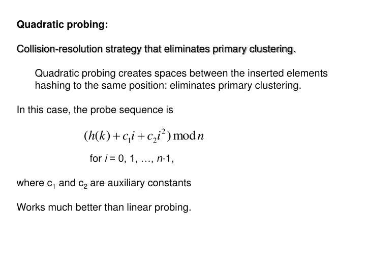 Quadratic probing: