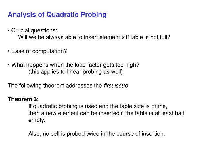 Analysis of Quadratic Probing