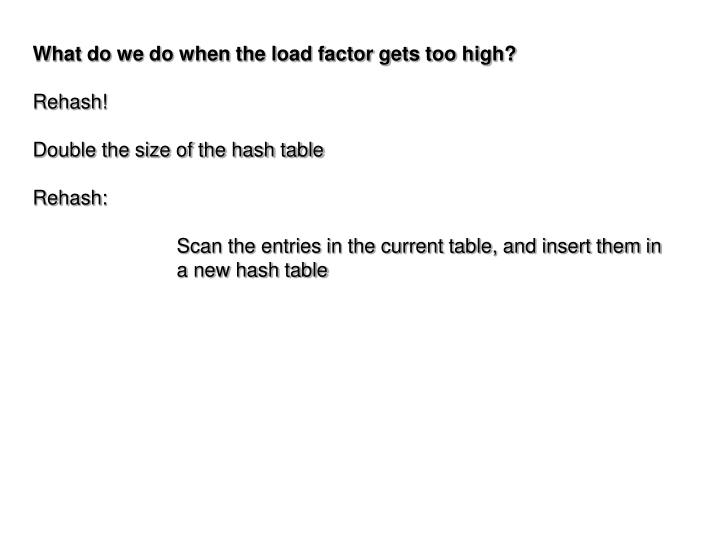 What do we do when the load factor gets too high?