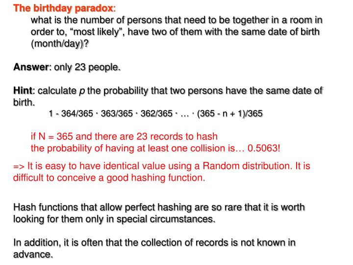 The birthday paradox