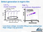 defect generation in high k film