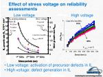 effect of stress voltage on reliability assessments