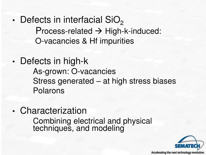 Defects in interfacial SiO
