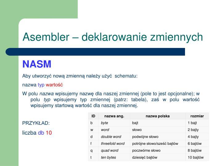 Asembler – deklarowanie zmiennych