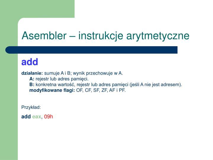 Asembler – instrukcje arytmetyczne