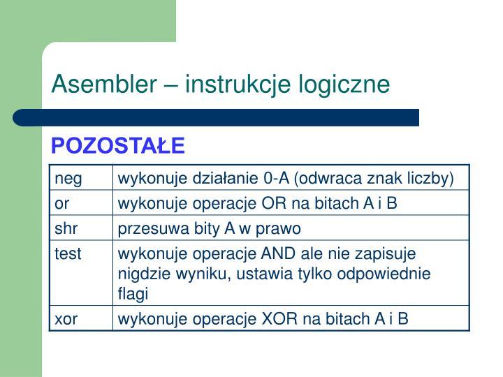 Asembler – instrukcje logiczne
