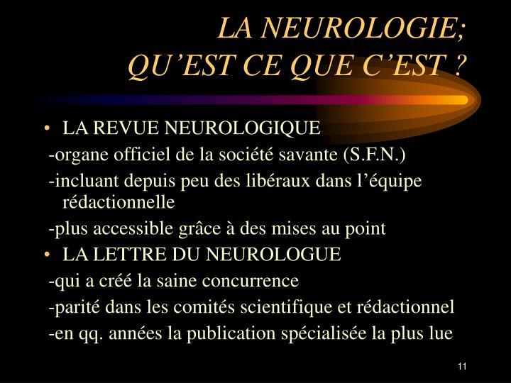 LA NEUROLOGIE;