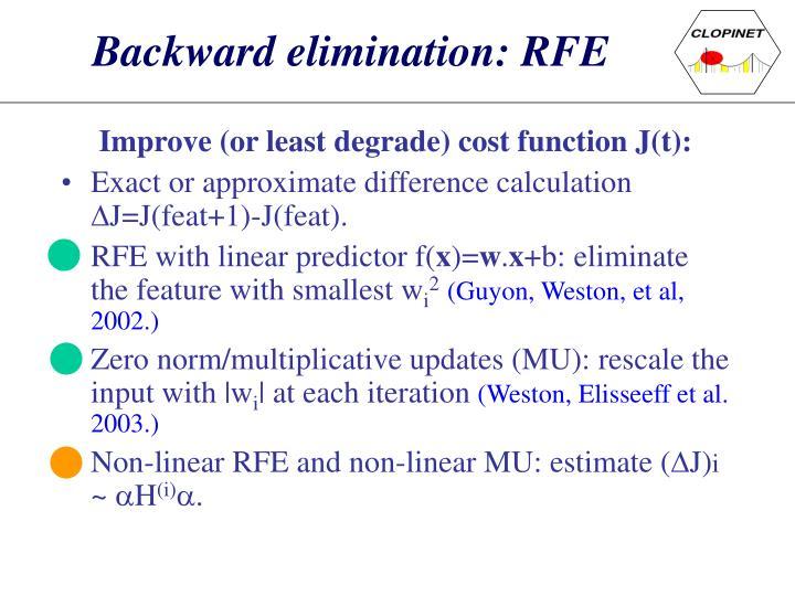 Backward elimination: RFE