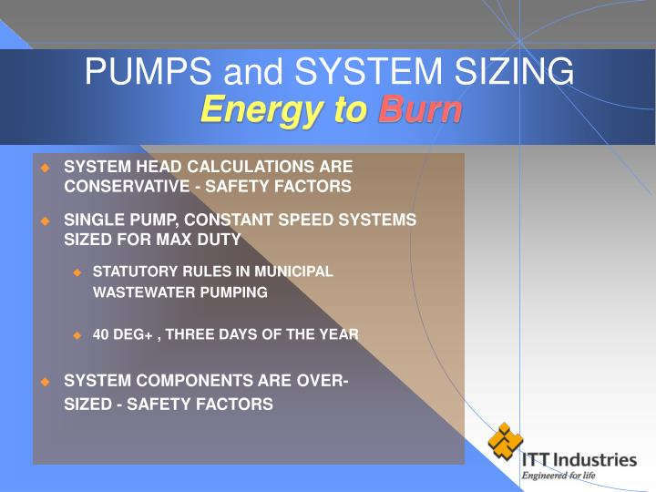 PUMPS and SYSTEM SIZING