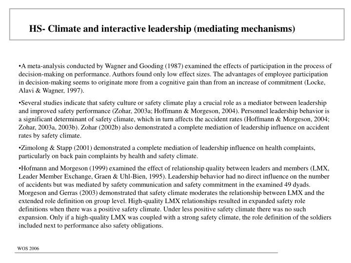 HS- Climate and interactive leadership (mediating mechanisms)