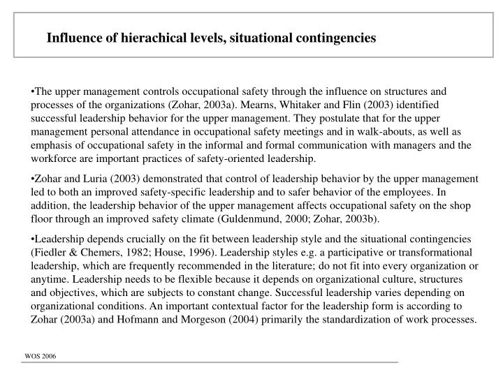 Influence of hierachical levels, situational contingencies