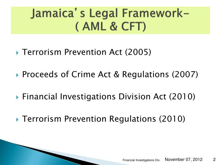 Jamaica s legal framework aml cft