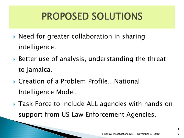 PROPOSED SOLUTIONS