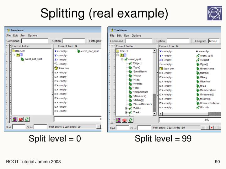 Splitting (real example)