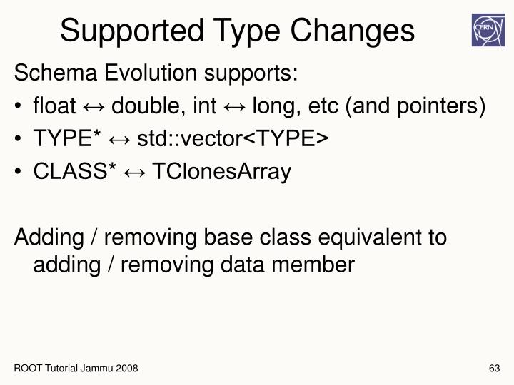 Supported Type Changes