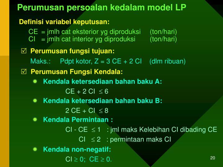Perumusan persoalan kedalam model LP