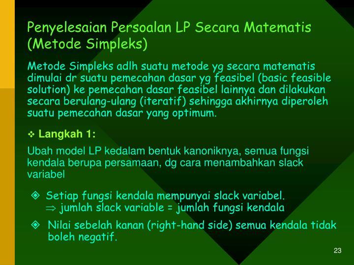 Penyelesaian Persoalan LP Secara Matematis