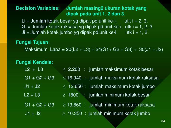 Decision Variables: Jumlah masing2 ukuran kotak yang dipak pada unit 1, 2 dan 3.