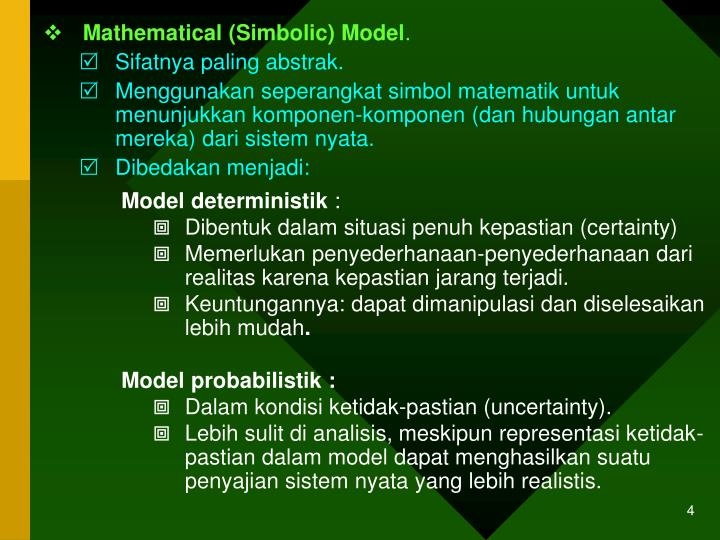 Mathematical (Simbolic) Model
