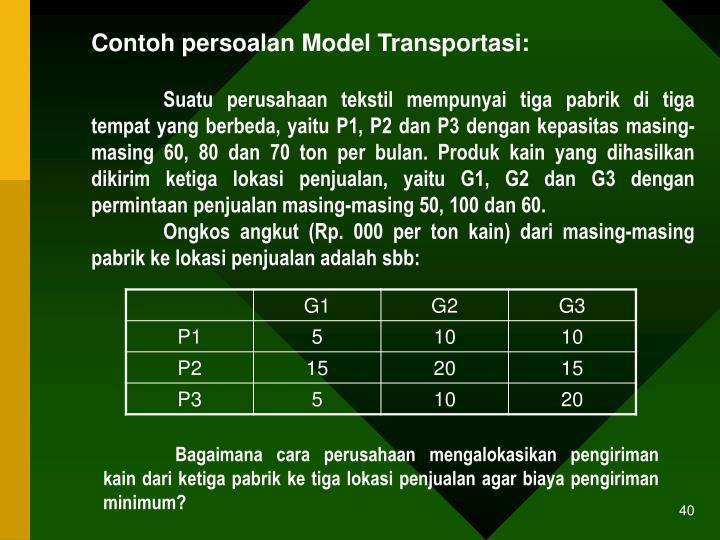 Contoh persoalan Model Transportasi: