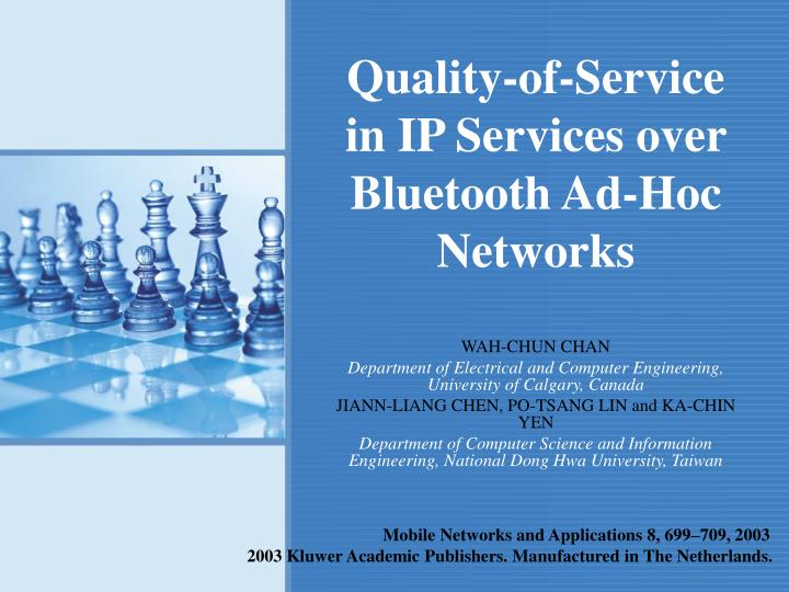 Quality of service in ip services over bluetooth ad hoc networks