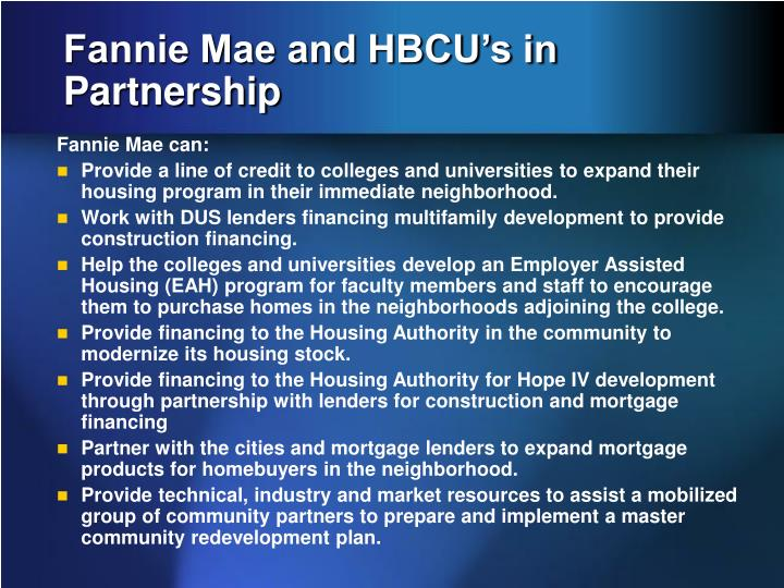 Fannie Mae and HBCU's in Partnership