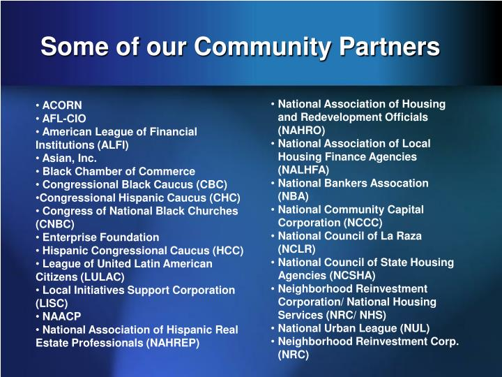 Some of our Community Partners