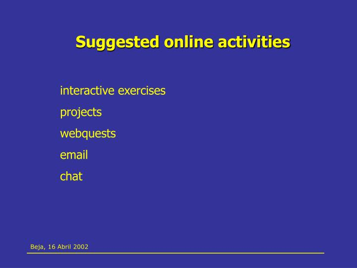 Suggested online activities