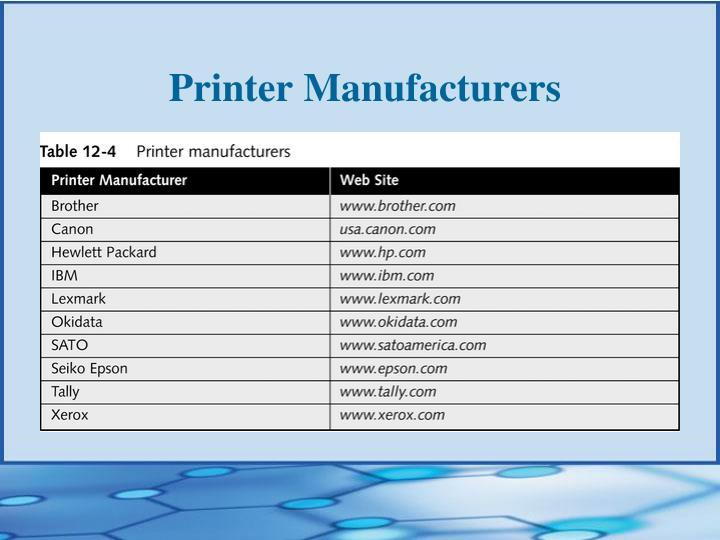 Printer Manufacturers