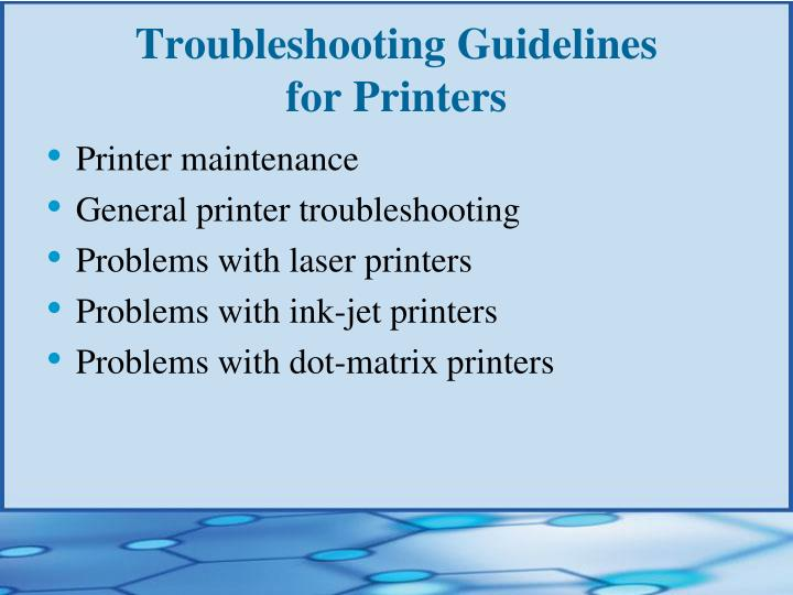 Troubleshooting Guidelines