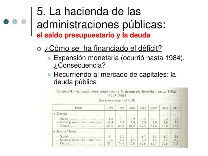 5. La hacienda de las administraciones públicas: