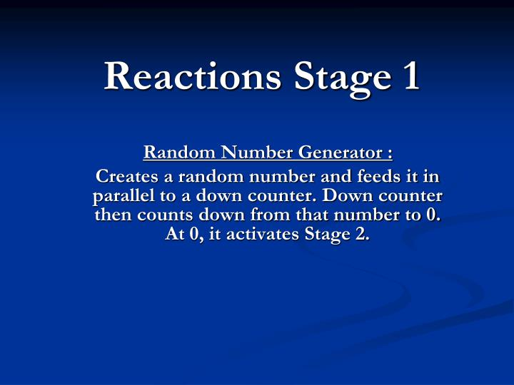 Reactions stage 1