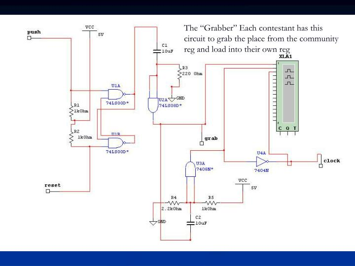 "The ""Grabber"" Each contestant has this circuit to grab the place from the community reg and load into their own reg"