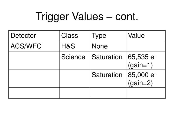 Trigger Values – cont.
