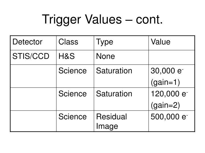 Trigger Values – cont.
