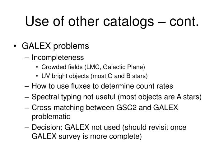 Use of other catalogs – cont.