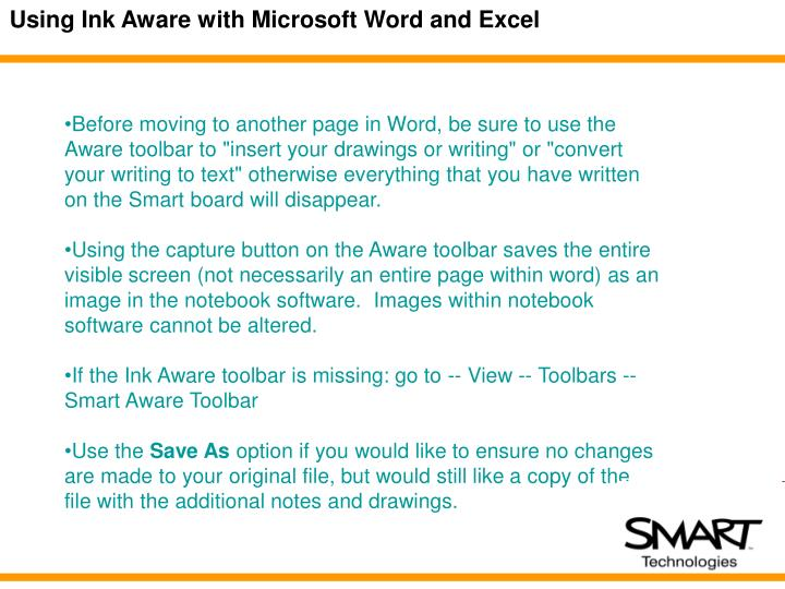 Using Ink Aware with Microsoft Word and Excel