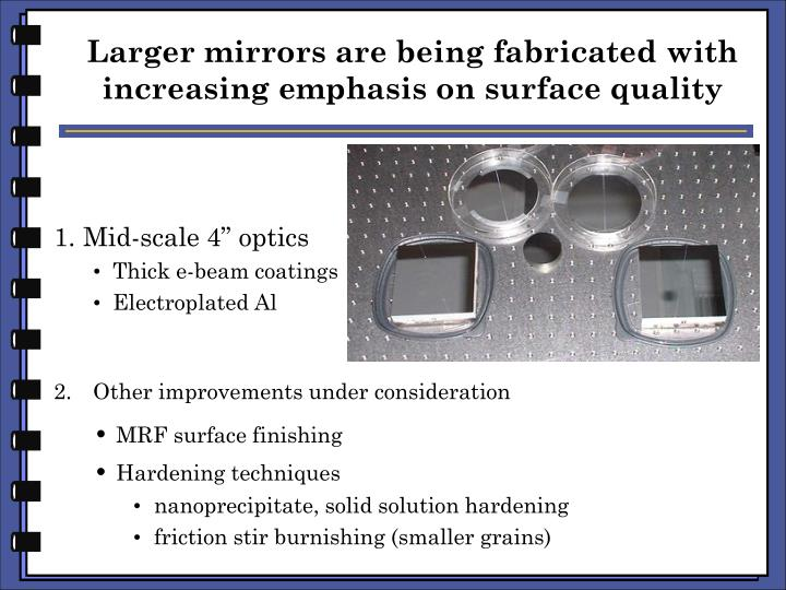 Larger mirrors are being fabricated with increasing emphasis on surface quality