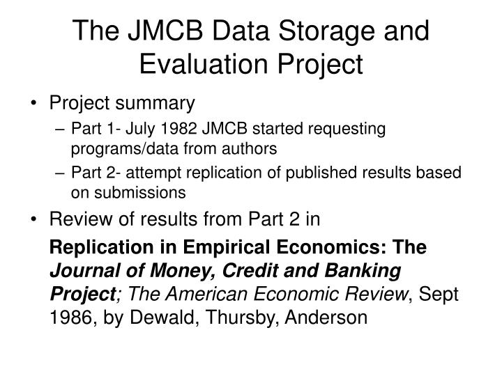 The jmcb data storage and evaluation project