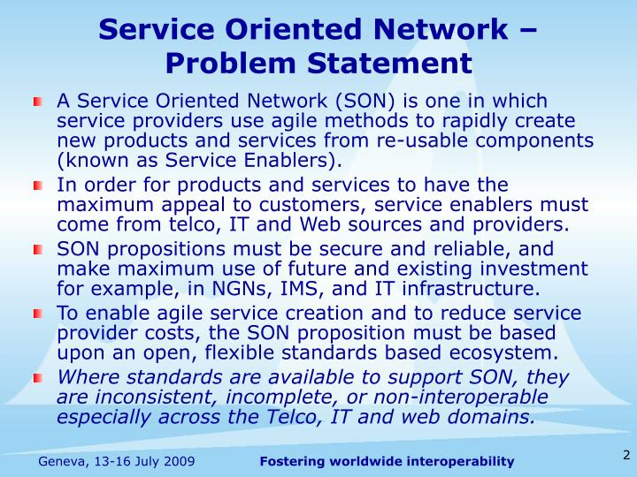 Service Oriented Network –