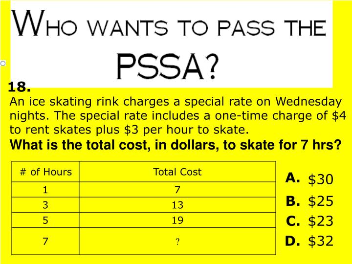 An ice skating rink charges a special rate on Wednesday nights. The special rate includes a one-time charge of $4 to rent skates plus $3 per hour to skate.