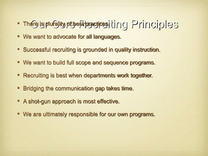 Our Core Recruiting Principles