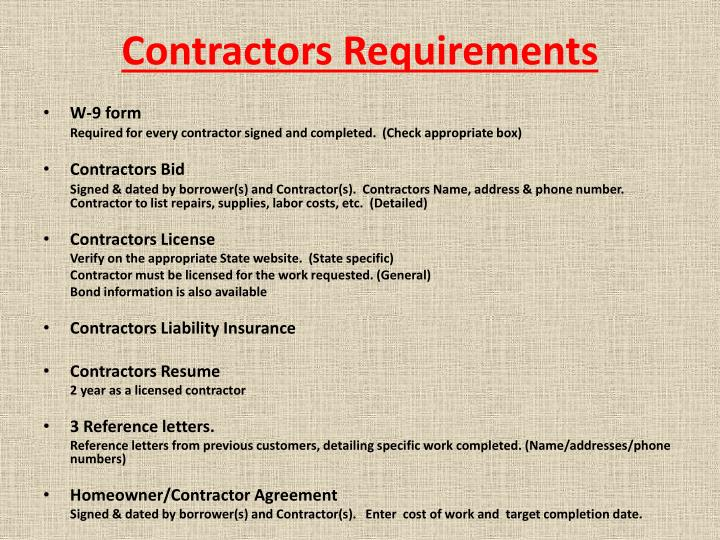 Contractors Requirements