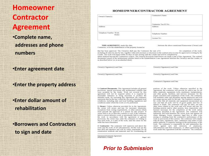 Homeowner Contractor Agreement